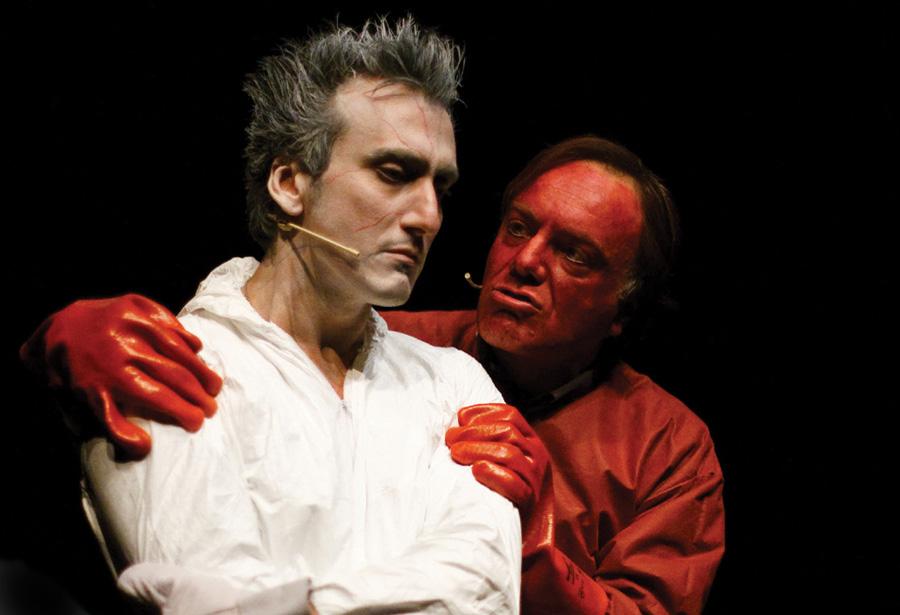 """20_01_2009: spettacolo teatrale """"nemici di sangue"""" con dimitri milopulos, michele panella, francesco acquaroli. teatro della limonaia di sesto fiorentino foto matteo baldini"""