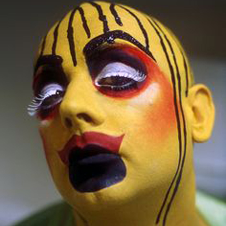Boy George dressed as Leigh Bowery, with heavy make up, Taboo Show, London, 2000's